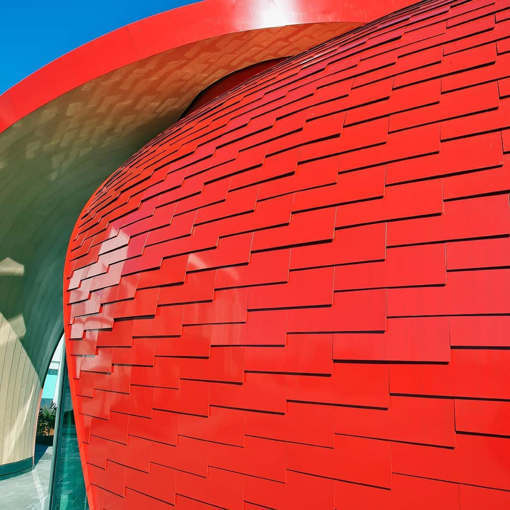 565 Great Northern Way Pavilion, Perkins Will, Keith Panel Systems, Alucobond Spectra Red, Photography Keith Panel