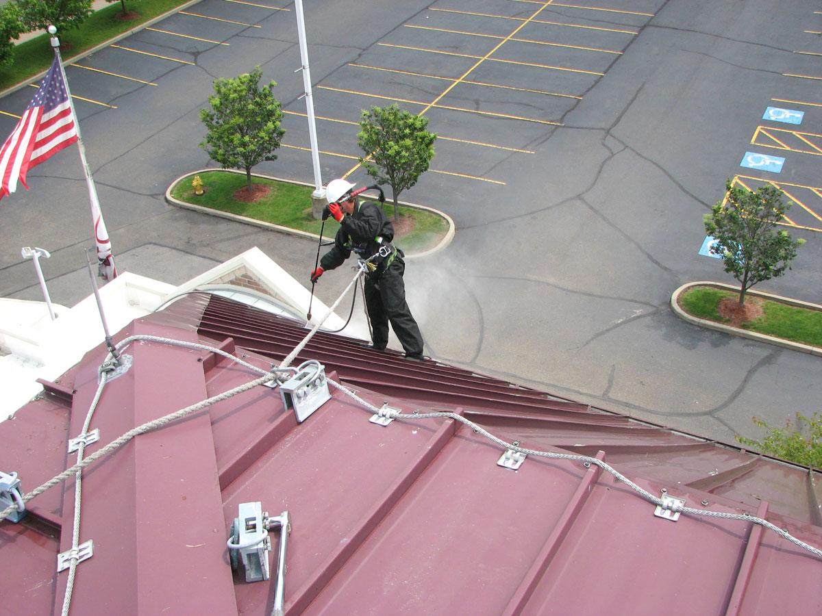 All Tech Coatings Decorating, Steubenville, Ohio, High School Roofing Project Restoration, PPG Coraflon ADS, Lumiflon FEVE Resin