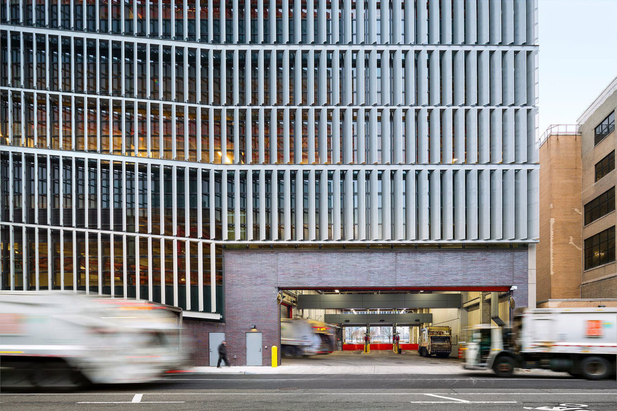 Dattner Architects, WXY Architecture Urban Design, 1 2 5 Garage, DSNY, Spring Street Salt Shed, Photo Albert Vecerka, Esto