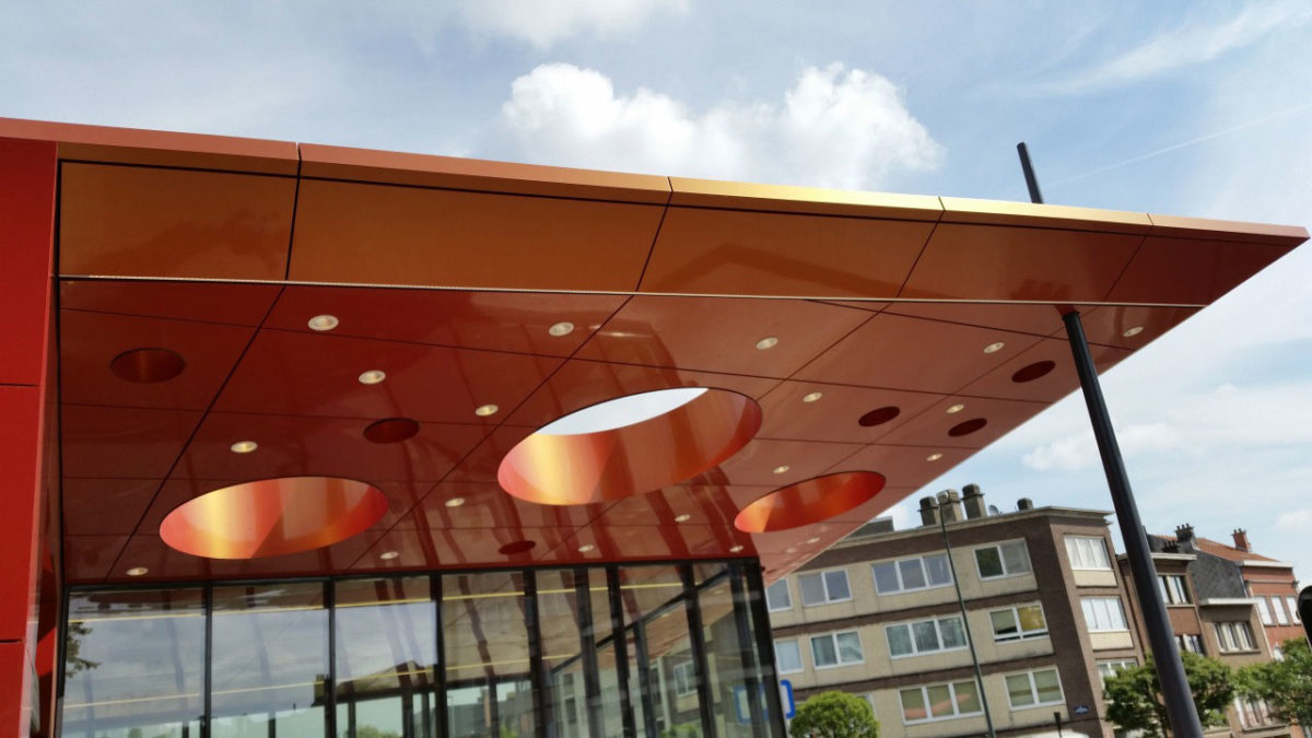 King Baudouin Metro Station, GS3 Associes, Alucobond A2, Spectra Cupral