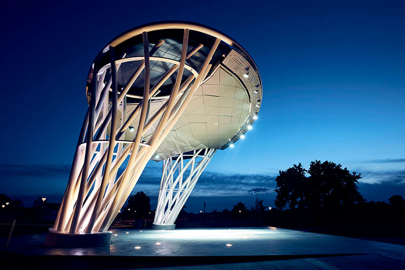 Lauridsen Amphitheater, Water Works Park, Iowa, Alucobond Plus, Photography Joe Crimmings