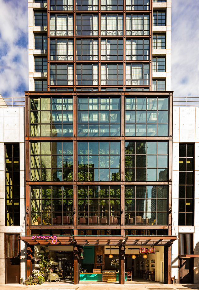 Moxy Chelsea, Marriott, NYC, Stonehill Taylor, Pure Freeform, Nomad Steel, Photography Michael Klienberg