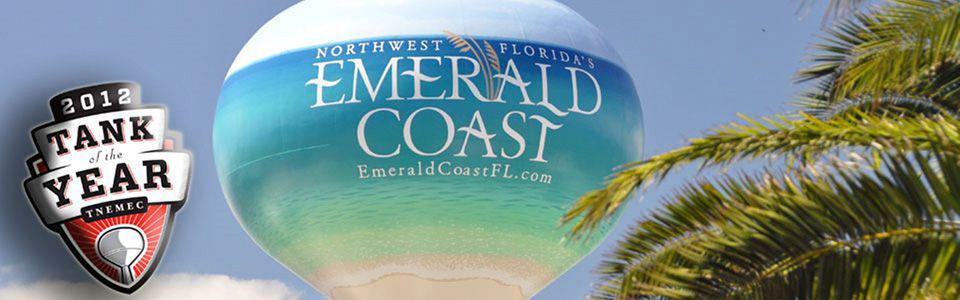 Okaloosa Island Emerald Coast Water Tank, Tnemec Hydroflon, Lumiflon FEVE Resin, Polyengineering Inc, American Suncraft Construction Company