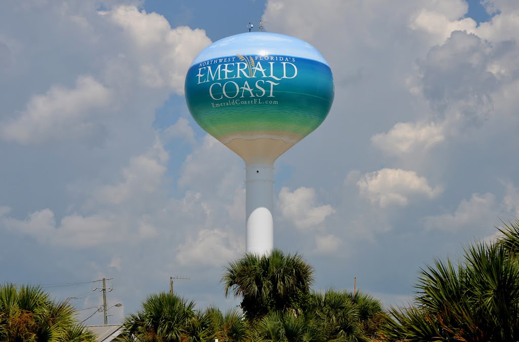 Okaloosa Island Emerald Coast Water Tank, Tnemec Hydroflon, Lumiflon FEVE Resin, Polyengineering Inc, American Suncraft Construction Company, Photo Panoramio User Seven Stars
