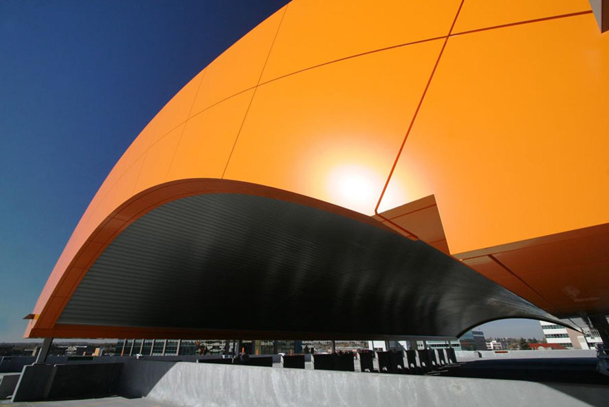 Sorensen Station Parkade and Transit Terminal Red Deer Alberta Canada Igloo Erectors John Murray Architects Alpolic ACM Prismatic Lumiflon FEVE Resin