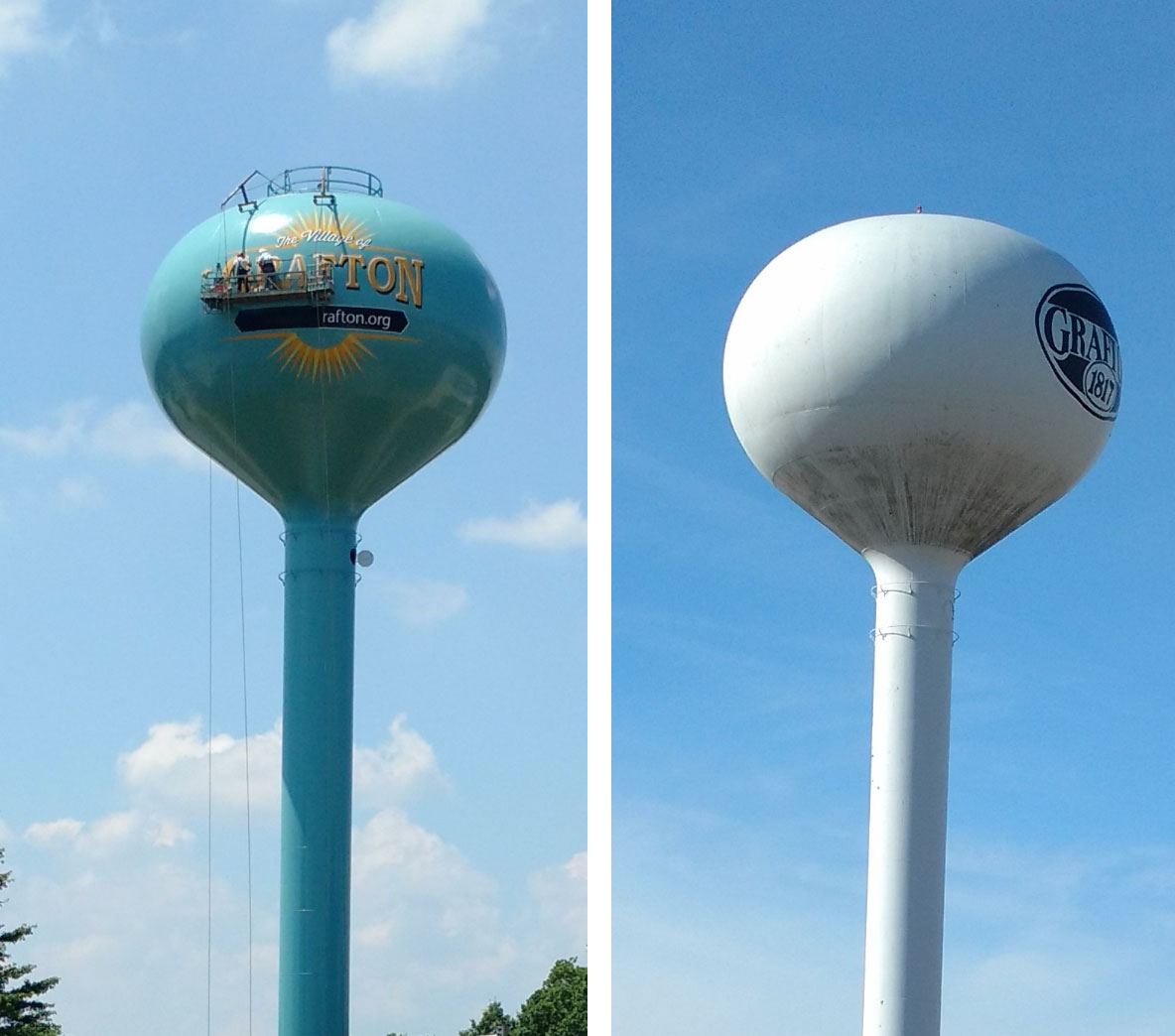 The Village of Grafton, Ohio, Elevated Water Tank, Before and After