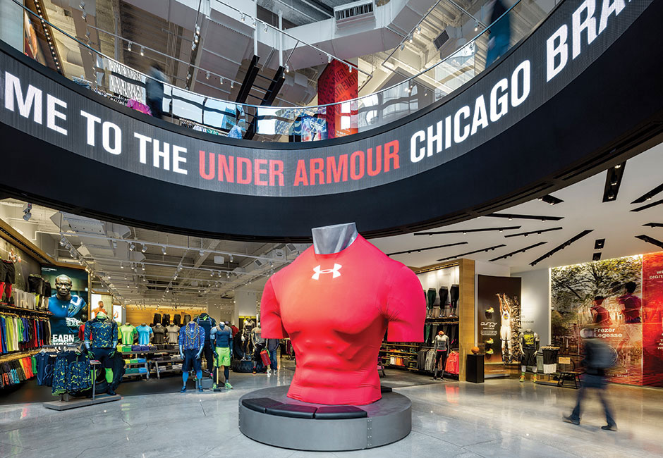 Under Armour, Chicago, Storefront, LUMIFLON Prefinished Aluminum Panels, MG McGrath, Pure Freeform, FRCH Design Worldwide, Photography Retail Design Online