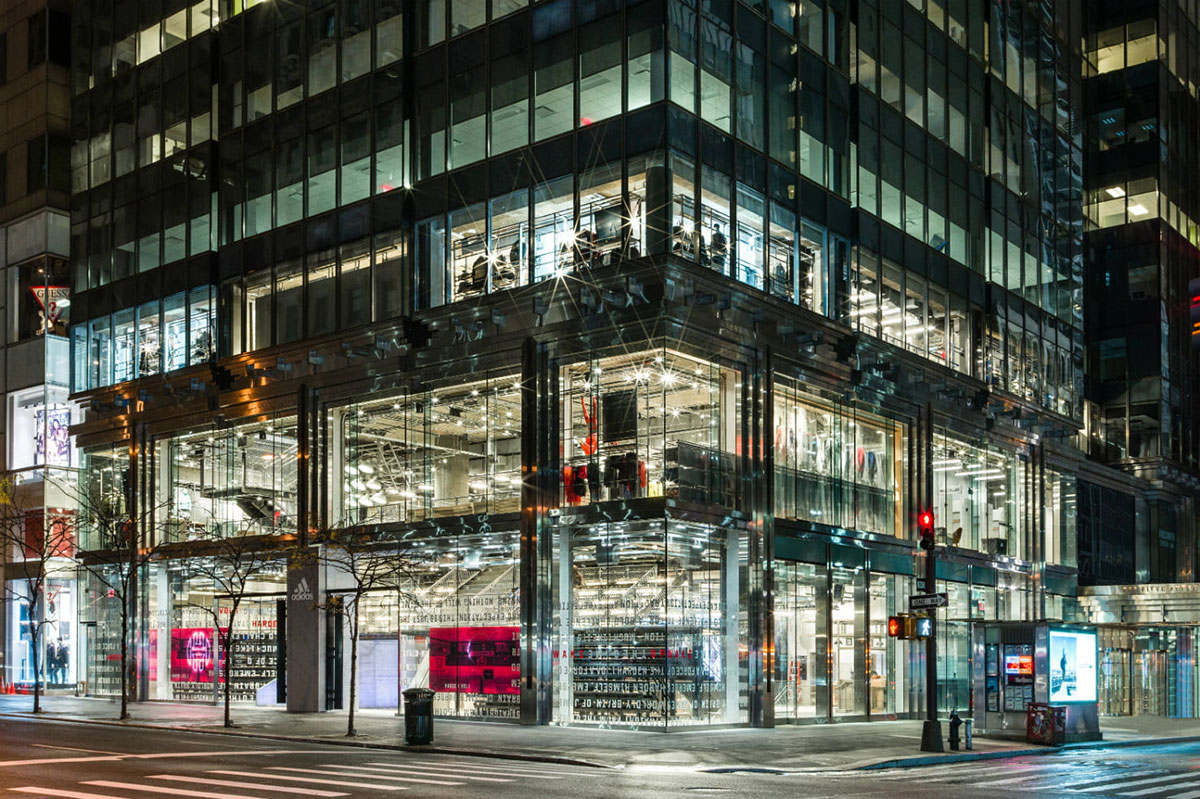 adidas nyc flagship store gentler architects pure freeform lumiflon feve resin